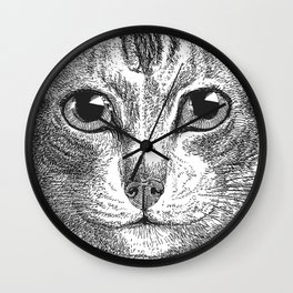 Black & White - Kitty Cat Close Up Wall Clock