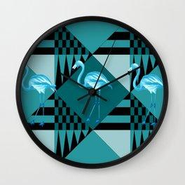 flamingo in blue Wall Clock