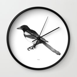 Magpie (Pica pica) - balck and white Wall Clock