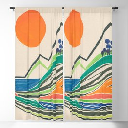 Landscape in many colours and lines Blackout Curtain
