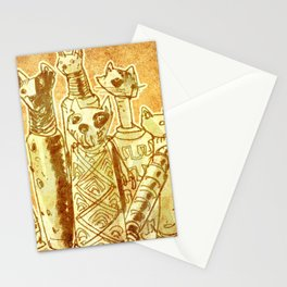 cat mummies with sand background Stationery Cards