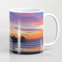 calendars Mugs featuring Huntington Beach Sunset   ~  12/15/13  by John Minar Fine Art Photography