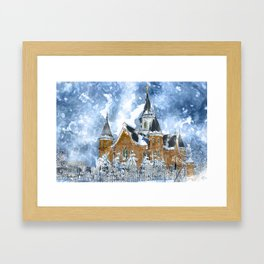 Provo City Center LDS Temple in Winter watercolor Framed Art Print