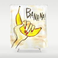 banana Shower Curtains featuring BANANA!! by Asano Kitamura