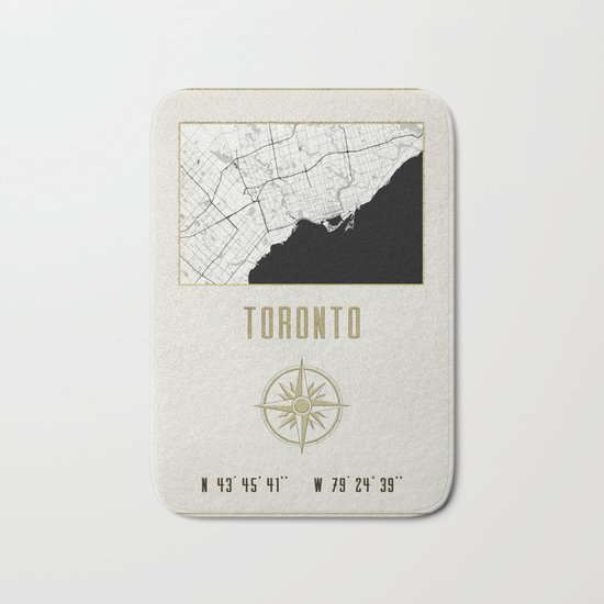 Toronto - Vintage Map and Location Bath Mat