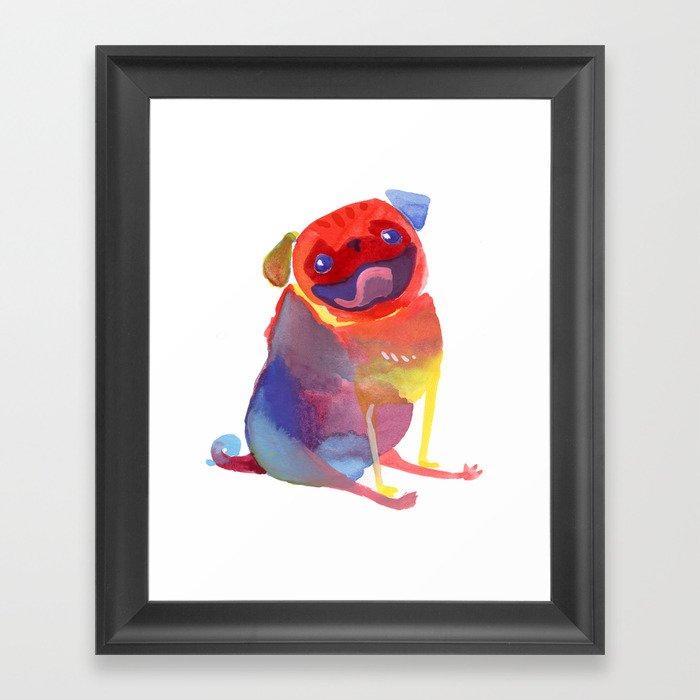 Happy Rainbow Pug Gerahmter Kunstdruck