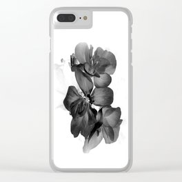 Black Geranium in White Clear iPhone Case