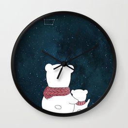 Watching the sky, at night. Watercolor and ink. Wall Clock