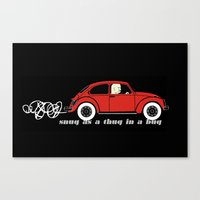 volkswagon Canvas Prints featuring Snug as a Thug in a Bug (red) by The Wallpaper Files