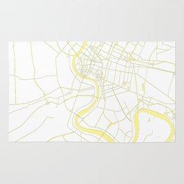 Bangkok Thailand Minimal Street Map - Pastel Yellow and White Rug