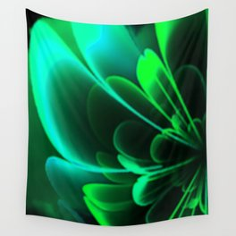 Stylized Half Flower Green Wall Tapestry