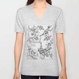 Moths & Camellias Unisex V-Neck