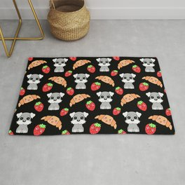 Cute happy funny baby puppy Schnauzers, sweet adorable yummy Kawaii croissants and red ripe summer strawberries cartoon black pattern design Rug