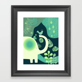 Elephant and bird in the jungle Framed Art Print