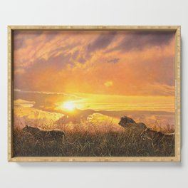 Sunset by Alan M Hunt Serving Tray