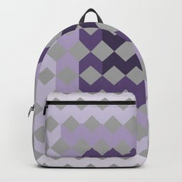 Grey Purple Quilt Backpack
