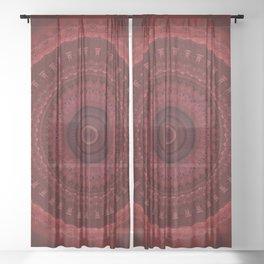 RED Mandala Design Sheer Curtain