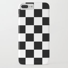 Checker Cross Squares Black & White iPhone Case