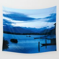 buddhism Wall Tapestries featuring BLUE VIETNAMESE MEDITATION  by CAPTAINSILVA