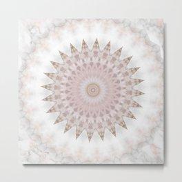 Gold Glittery Pastel Marble Mandala Metal Print