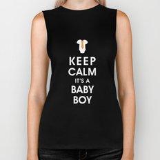 Keep Calm It's A Baby Boy Biker Tank