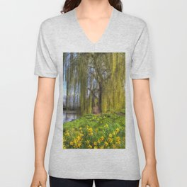 Daffodils and Willow Tree Unisex V-Neck