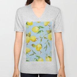 Watercolor lemons 10 Unisex V-Neck