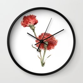 Red Picotee  Wall Clock