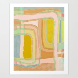 Shapes and Layers no.28 - Modern Pattern Squares and Lines Art Print