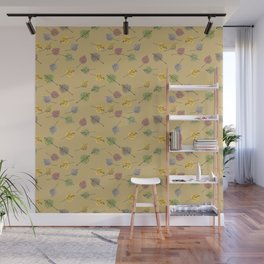 Colorado Aspen Tree Leaves Hand-painted Watercolors in Golden Autumn Shades on Jute Beige Wall Mural