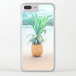 Happy Pinapple Portrait Clear iPhone Case