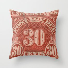 POSTAGE DUE THIRTY CENTS Throw Pillow