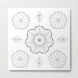 Mandala floral abstract yoga pattern namaste Metal Print