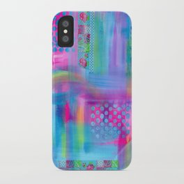 Pink with Blue Dots iPhone Case