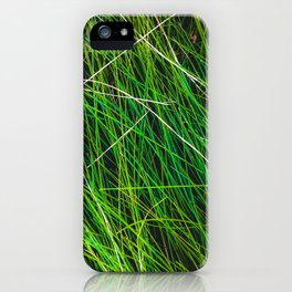 closeup green grass field texture abstract background iPhone Case