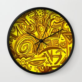 Yellow symbols Wall Clock