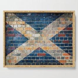 Scotland flag on a brick wall Serving Tray