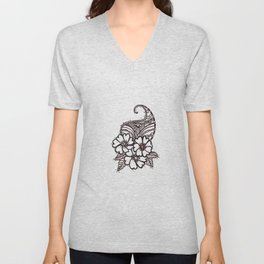 34. Daisy Henna with Paisley in Brown Unisex V-Neck
