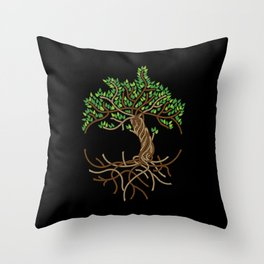 Rope Tree of Life. Rope Dojo 2017 black background Throw Pillow
