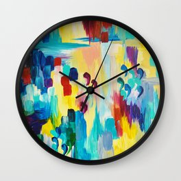 DONT QUOTE ME Whimsical Rainbow Ikat Chevron Abstract Acrylic Painting Magenta Plum Turquoise Gift Wall Clock