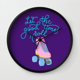 Let the Good Times Roll (Purple Background) Wall Clock