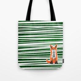 Happy Fox Green Leaves Tote Bag