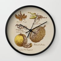 clockwork orange Wall Clocks featuring Steampunk Fruit  by Eric Fan
