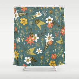 Bright Fun Floral Pattern Shower Curtain
