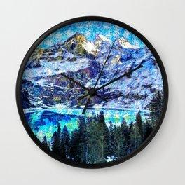 Winter wonderland at Oeschinensee, Kandersteg, Switzerland Wall Clock