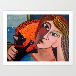 Girl and Chihuahua by Shelly Penko Art Print