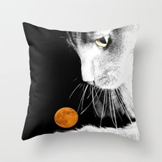 Silver Cat and Moon Throw Pillow