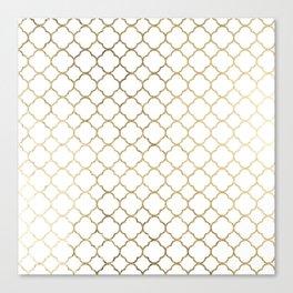 Elegant stylish white faux gold quatrefoil Canvas Print