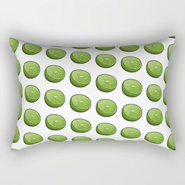 Green Limey Limes on White Rectangular Pillow