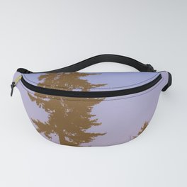 Pine Tree Silhouette Against Purple Pink Sky Fanny Pack